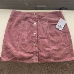 Pink Corduroy Button-Up Skirt
